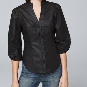 WHBM City Chic Lux Black Coating Button Blouse